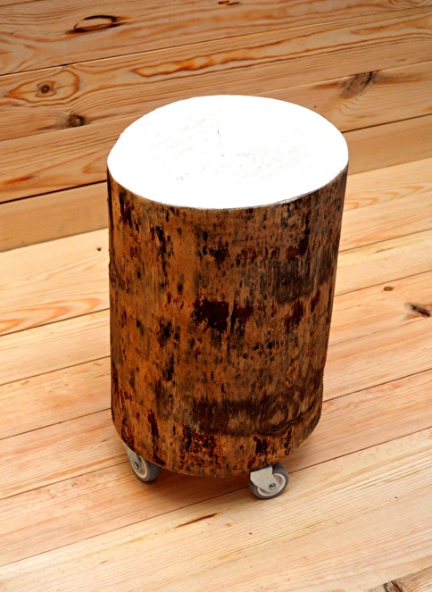 Oldwooddesign Tekerlekli Kütük Sehpa Renkli